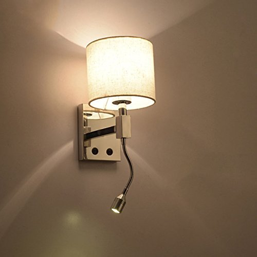 GBYZHMH Modern Plug In wall lamp bed hotel style of chrome wall ...