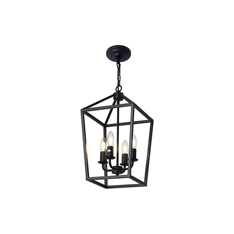 4-Light Black Farmhouse Chandelier Iron Lantern Pendant Light Rustic Cage Hanging Light Fixtures Industrial Foyer Lights…