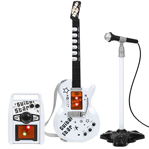 Best Choice Products Kids Electric Musical Guitar Toy Play Set w/ 6 Demo Songs, Whammy Bar, Microphone, Amp, AUX - White