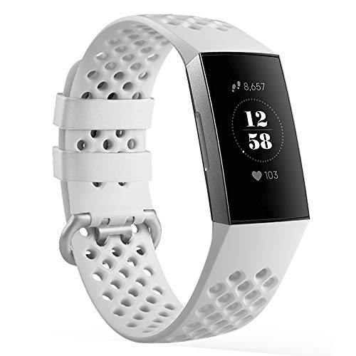 AmzAokay Replacement Bands Compatible for Fitbit Charge 3, Classic Loop Soft Silicone Adjustable Accessory Wristbands Fitness Tracker Breathable Sport Strap Small Large for Women Men(White, Small)