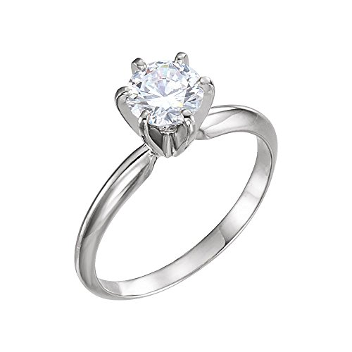 6 Prong Solitaire Mounting - 14kt Yellow & White 5.4-5.7mm Round Pre-Notched 6-Prong Solitaire Ring Mounting