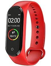 ساعة ذكية M4 تعمل باللمس ومقاومة للماء شاشة ملونة رسائل تذكير و مراقب معدل ضربات القلب / مراقبة أوكسجين الدم و مراقب ضغط الدم متوافق مع نظامي Android و iOS لون أحمر