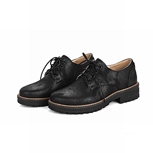 Heel Show Shine Oxfords Up Black Shoes Casual Women's Mid Lacing CYrCw