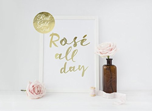 Real Gold Foil Rose All Day, Typographic Poster, Gold Wall Art, Bedroom Poster, Rose