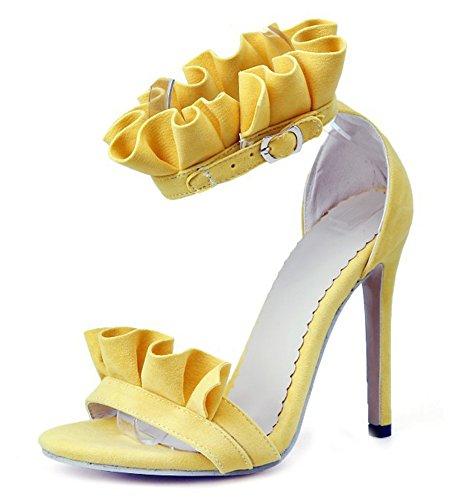 Aisun Boucle Jaune Aiguille Dentelle Sexy Sandales Avec Femme Talon qqOF4g