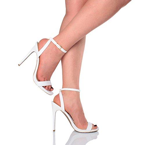 Mujeres Fiesta alta hebilla talón sandalias allí talla apenas correas Weiß botas Matte rprOFZT