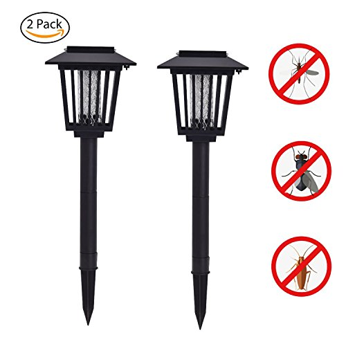 [2 pack] Solar Powered Bug Zapper Light, Solar Mosquito Killer Insect/Fly/Mosquitoes/Moths/Flies Killer Trap LED Garden Lawn Lamp Electronic Insects Killer Waterproof for Outdoor Use Pest Control by HUYHU