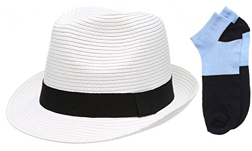 Men's Short Brim Straw Fedora Hat with Summer Low Cut (White Hat With Black Band)