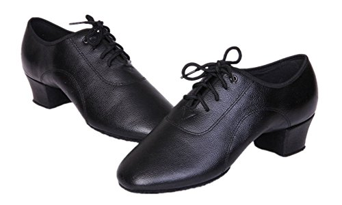 BeiBestCoat Stylish Men's Black Lace-up Leather Dancing Shoes for Men, Boy and Little Kid (12 M US Little Kid / 7.09