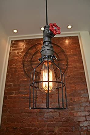 West Ninth Vintage Industrial Single Pendant Pipe Red Spigot Light With Cages