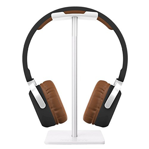 iKNOWTECH Headphone Stand Aluminum Holder for Microsoft Xbox One Chat, Turtle Beach Recon 50X/50P/Beach XO One Stereo, KingTop EACH G2000, Sony PlayStation Wireless Stereo Headset & More(WH)