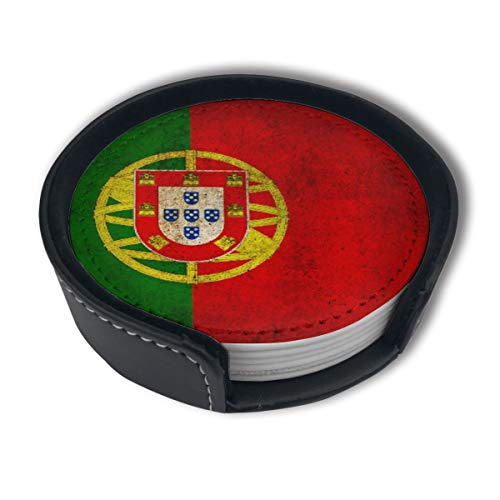 HBLSHISHUAIGE Old Portugal Flag Stripes Coasters with Holder Set,Round Mugs and Cups Mat Pad for Drinks,Suitable for Home and Kitchen(6PCS)