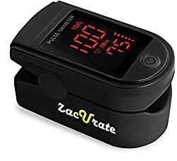 Zacurate Pro 500DL Fingertip Pulse Oximeter Blood Oxygen Saturation Monitor with Silicon Cover, Batteries and Lanyard (Black Series)