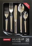 NEW 'Heads up' Flatware set of 20 pieces. Innovative & Hygiene design. Raised above the surface. Free from surface germs. Premium grade of 18/10 stainless steel. Good for home & hotel & restaurant.