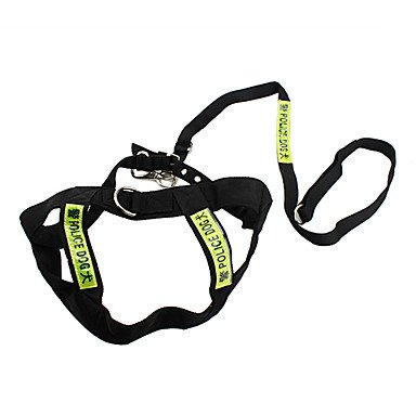 Quick shopping Police Dog Style Harness and Leash for Dogs (150cm 59inch, Black)