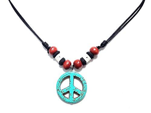 Peace Sign Necklace - Peace Symbol Necklace - Stone Peace Sign Pendant - Adjustable Black Cord (Peace Pendant Necklace)