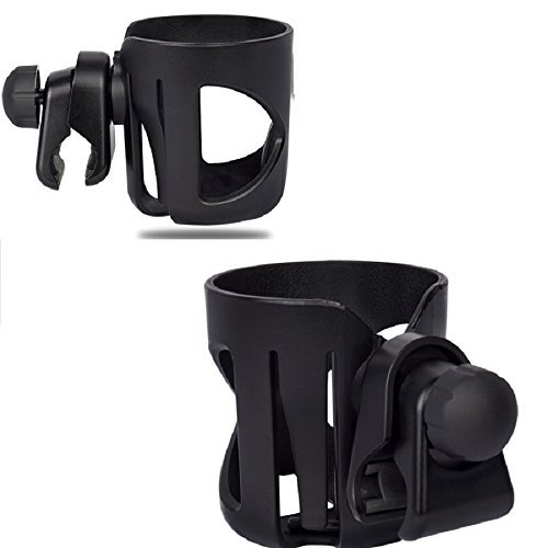 Stroller Cup Holder, Fushop Drink Holder for Wheelchair, Bicycle, Office Chair, Scooter, Adjustable Water Bottle Cage(BLACK)