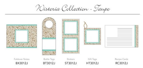 Three Designing Women - Wisteria Collection Taupe Hanging Gift Tags - 6 tags (Collection Wisteria)