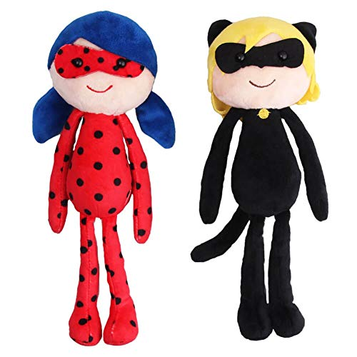 LULEZONTOY 2PCS Miraculous Ladybug Cat Noir Plagg Tikki Peluche Figure Toys 25CM