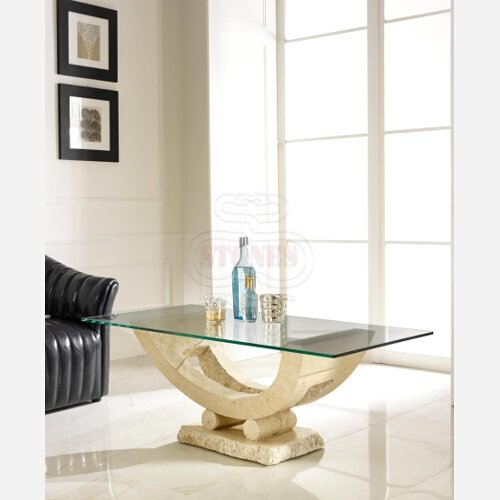 Desconocido Mesa de Centro de Cristal y Piedra Elegante salon Comedor Art. ST5