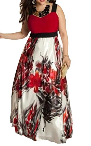 Godeyes Womens Sleeveless Novelty Plus Size Floral Sweetheart Maxi Evening Dresses Red (31.10 Halloween Party)