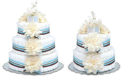 Diaper Cake - Cream Dahlias W/blue Stripes