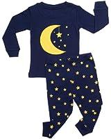 "Leveret Little Boys ""Moon & Stars"" 2 Piece Pajama 100% Cotton (6M-8 Years)"