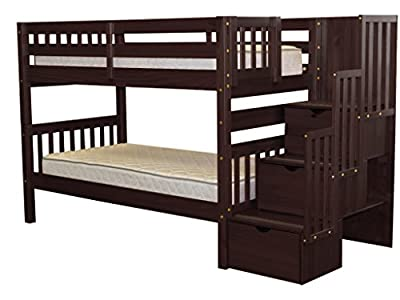 Bedz King Stairway Bunk Bed Twin over Twin with 3 Drawers in the Steps, Cappuccino