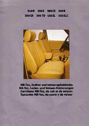 1979 Mercedes Benz Upholstery Guide Brochure Literature Manual Book Brochure Manual Guide