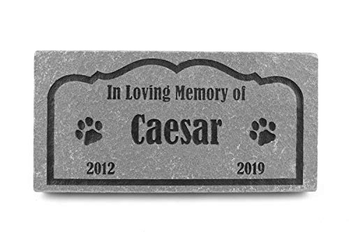 GraphicRocks Sandblast Engraved Grey Pet Memorial Stone Headstone Grave Marker for Pet Loss Dog Cat 6 inch x 12 inch Personalized with Pet Name and Years ()