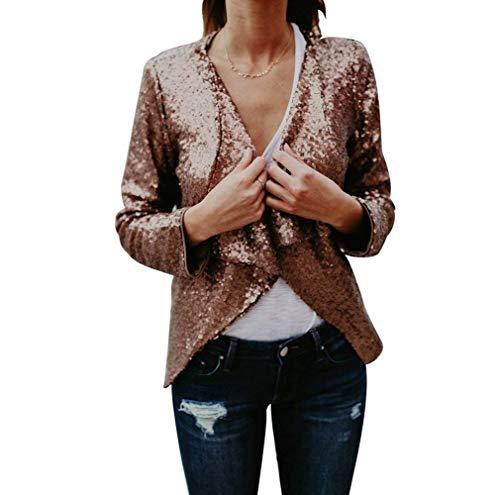 Paillettes Printemps Or Cardigan Manches Automne Mode Coat avec Slim Elgante Longues Manteau Femme Jeune Fit Vintage Blouson Scintillement Outwear Chic Asymtrique qzvtSRxF