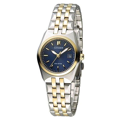 Citizen Eco-Drive Analog 2 Tone Gold Blue Dial Women's Watch EW2294-61L