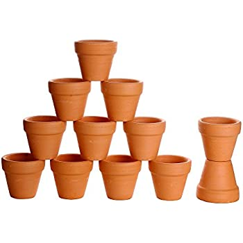 Winlyn 12 Pcs Small Mini Clay Pots 2'' Terracotta Pot Clay Ceramic Pottery Planter Cactus Flower Pots Succulent Nursery Pots- Great for Plants,Crafts,Wedding Favor