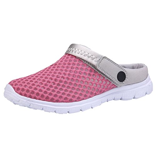 SODIAL(R) 1 Pair Breathable Mesh Net Slippers Beach Hollow Out Sandals Outdoor Sports Casual Summer Shoes, Women Blue UK3 Rose Red