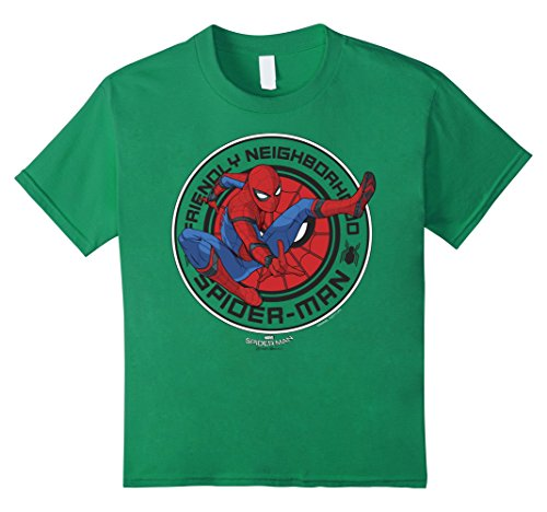 Kids Marvel Spider-Man Homecoming Friendly Neighbor Badge T-Shirt 6 Kelly Green (Spider Man Green)
