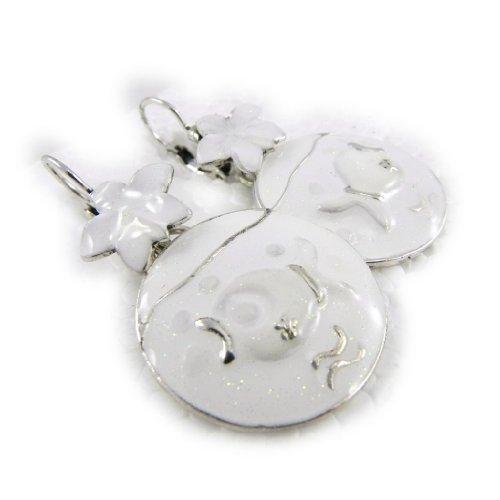"""Les Trésors De Lily [H4427] - Dormeuses Créateur """"Liberty"""" blanc"""