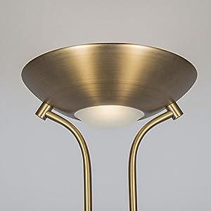 QAZQA Moderno Lámpara de pie DIVA LED 2 bronce Metálica Redonda/Alargada Incluye LED Max. 1 x 18 Watt