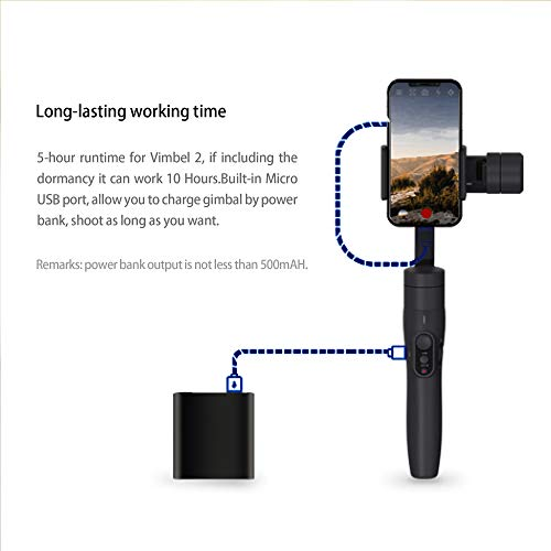 FeiyuTech Vimble 2 Extendable Handheld Stabilizer Gimbal With Object Tracking, Dynamic Time-Lapse for iPhone X 8 7 Plus, Samsung, HUAWEI, for Taking Selfies and Live Show, with Phone Camera Lens, Gray