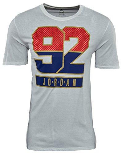 Mens Jordan Classic Tee Graphic (Nike Men's Jordan Retro 7 92 T-Shirt Large White Red Blue Gold)