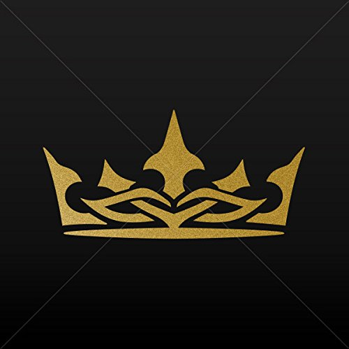 Decal Stickers Royal Crown Chess Queen King Kingdom Tablet Gold-Matte (5 X 2.46 Inches)