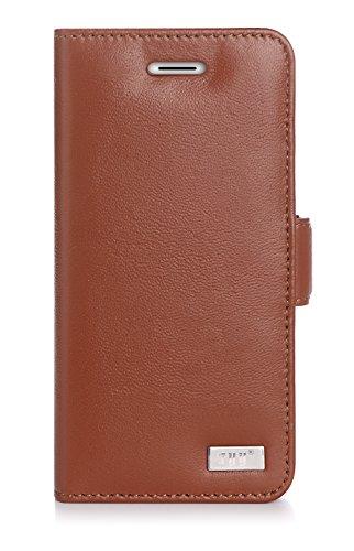 iPhone 7 Plus Case, FYY [RFID Blocking wallet] [Genuine Leather] 100% Handmade Wallet Case Credit Card Protector for iPhone 7 Plus Brown