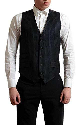 Dolce & Gabbana Men's 100% Wool Dark Gray Striped Vest US S IT 48 ()