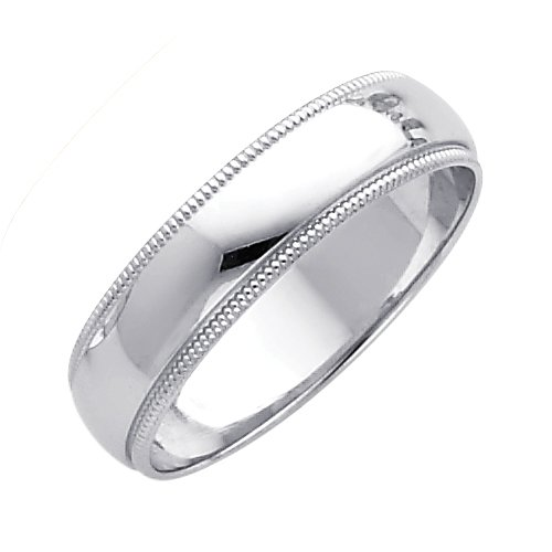 14k White Gold Plain Milgrain Wedding Band Ring Solid Polished Finish Regular Fit, 5 mm, Size 8.5