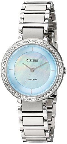 Citizen Women's Silhouette Crystal Japanese-Quartz Watch with Stainless-Steel Strap, Silver, 14 (Model: EM0480-52N)