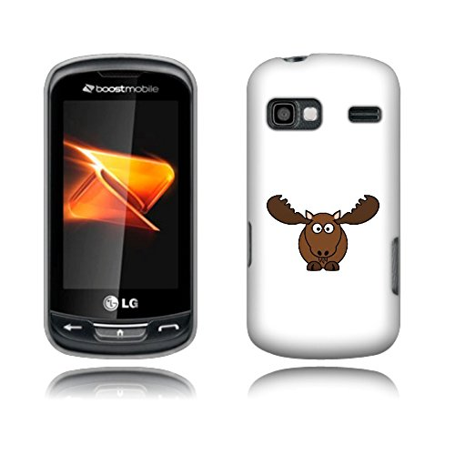 Fincibo (TM) LG Xpression C395 Rumor Reflex LN272 S LN272S Protector Cover Case Snap On Hard Plastic - Cartoon Moose