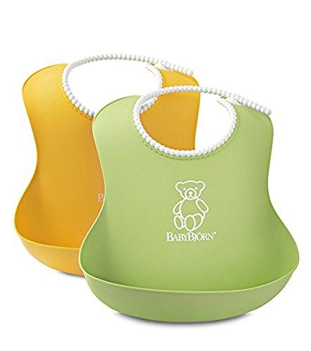 BABYBJORN Soft Bib, Green/Yellow, 2 Pack (Baby Bib Soft)