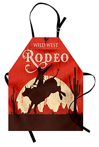 Ambesonne Vintage Apron, Rodeo Cowboy Riding Bull Wooden Old Sign Western Style Wilderness at Sunset Image, Unisex Kitchen Bib Apron with Adjustable Neck for Cooking Baking Gardening, Redwood Orange