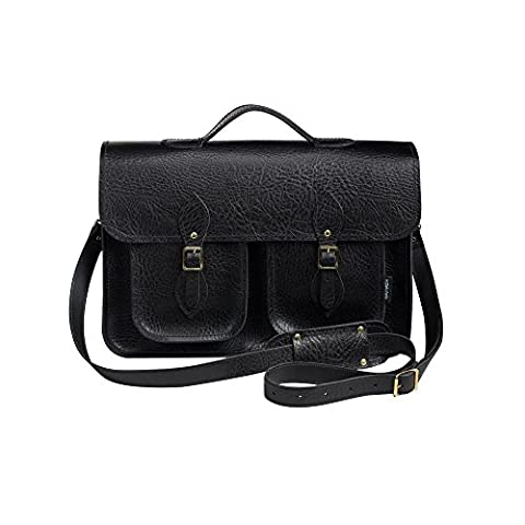 Zatchels Executive Handcrafted Leather Top Handle Mag Dot Satchel (British Made) (17.5in) (Pelle Cambridge Cartella)