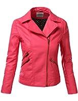 J.TOMSON Women's Faux Leather PU Moto Zip Up Jacket