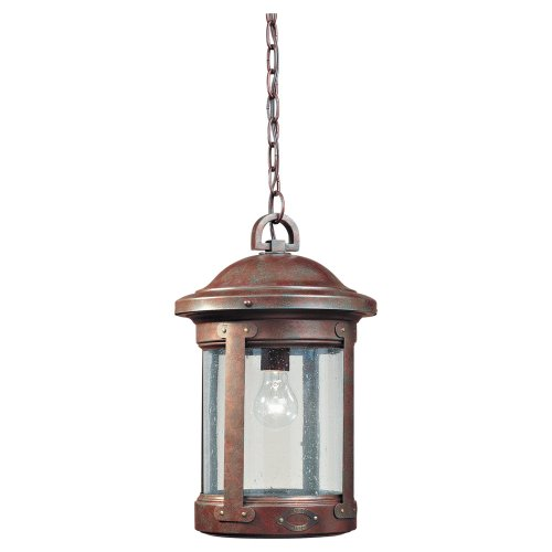 Sea Gull Lighting 6041-44 Single-Light HSS CO-OP Outdoor Pendant, Clear Seeded Glass, Weathered Copper
